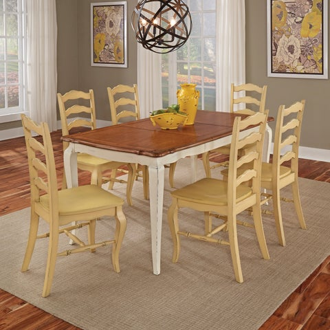 French Countryside white and oak 7-piece Dining Set by Home Styles