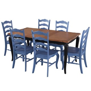 French Countryside black and oak 7-piece Dining Set by Home Styles