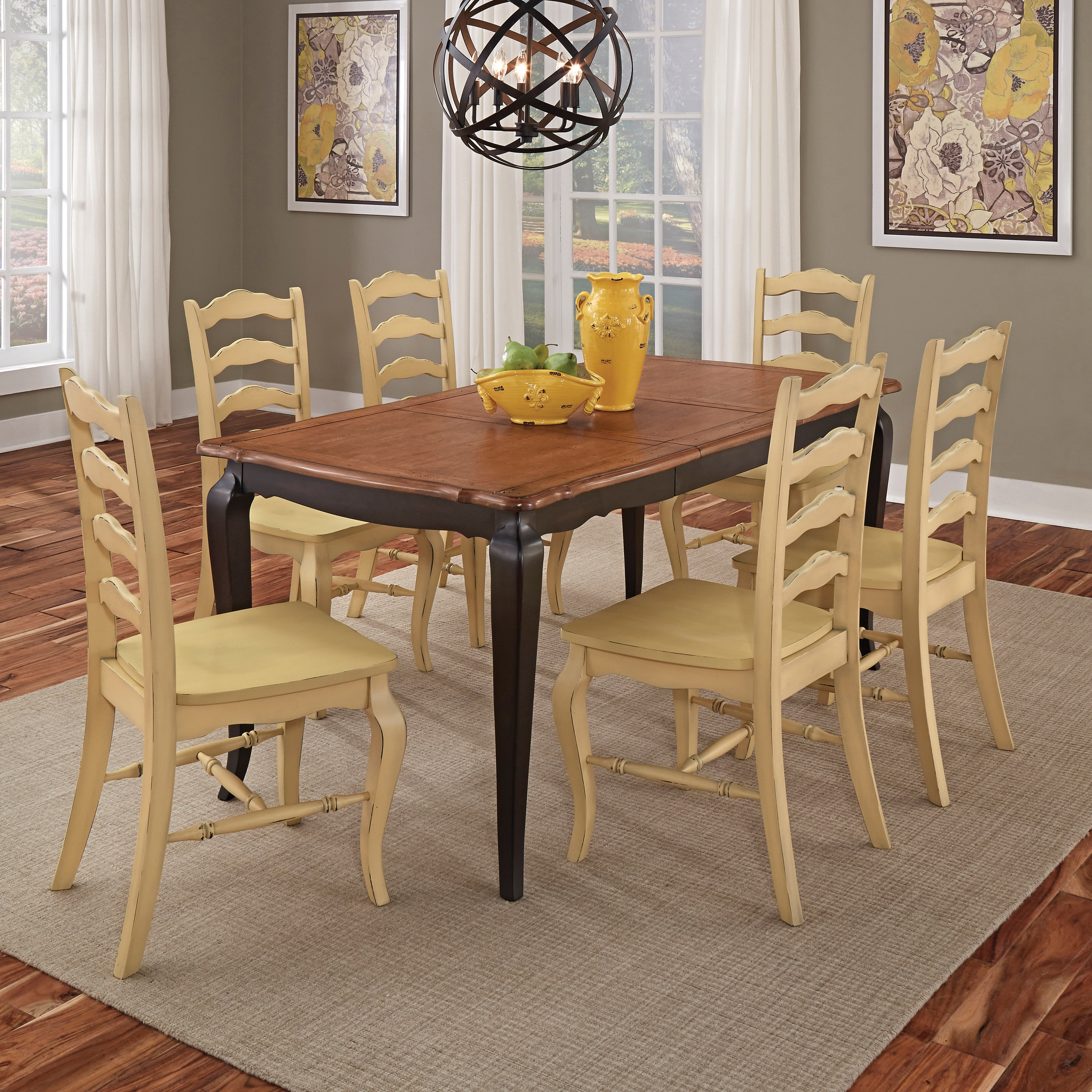 French Countryside Black And Oak 7 Piece Dining