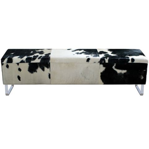 Modernist Black/ White Hide Bench