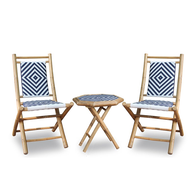 Bamboo Table and Two Chairs Set, Blue (Wood)