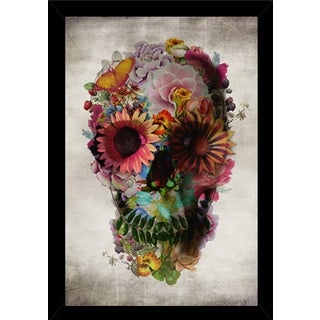 Flower Skull Print with Traditional Black Wood Frame (24 x 36)