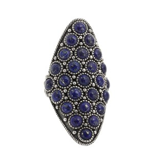 Sterling Silver Round Lapis Oxidized Elongated Shield Ring