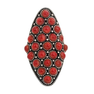 Sterling Silver Round Coral Oxidized Elongated Shield Ring