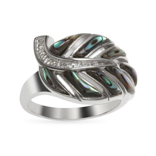 Sterling Silver Freeform Abalone Sideways Leaf Ring