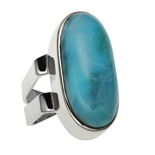 Sterling Silver Oval Larimar Elongated Ring - Blue