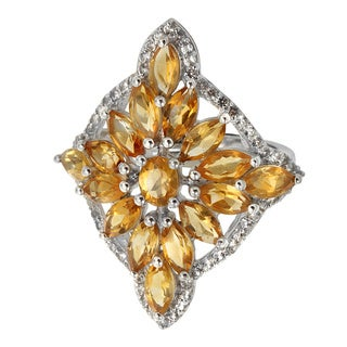 Sterling Silver Citrine and White Topaz Snowflake Ring