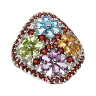 Sterling Silver Multi Flower Ring