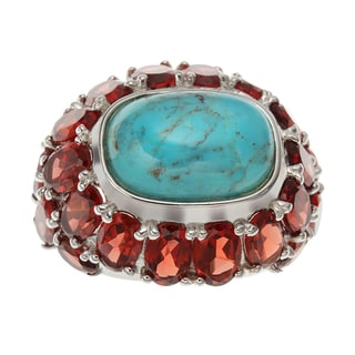 Sterling Silver Cushion Shaped Turquoise and Garnet Dome Ring