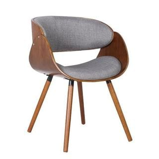 walnut plywood and grey fabric arm dinning midcentury style chair with wraparound back