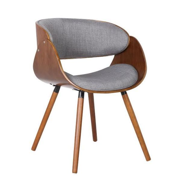 Walnut Plywood And Grey Fabric Arm Dinning Mid Century Style Chair With Wraparound