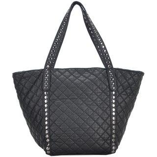 Mechaly Women's Ivy Black Vegan Leather Tote Handbag
