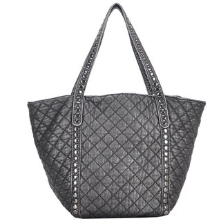 Mechaly Women's Ivy Pewter Vegan Leather Tote Handbag