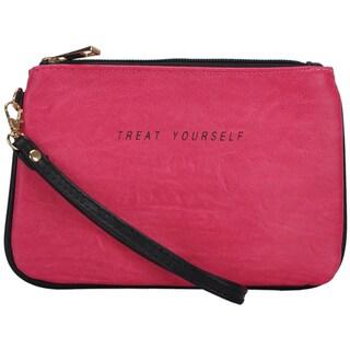 Mechaly Women's Slogan Treat Fuchsia Vegan Leather Wallet