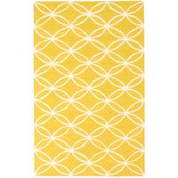 ecarpetgallery Baroque Yellow Wool Rug - 5'0 x 8'0
