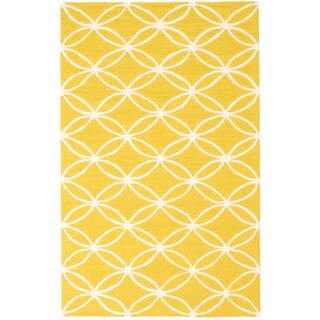 ecarpetgallery Baroque Yellow Wool Rug - 5'0 x 8'0