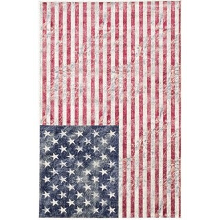 ecarpetgallery Stars and Stripes Beige, Blue, Red Rug (4'3 x 6'5)