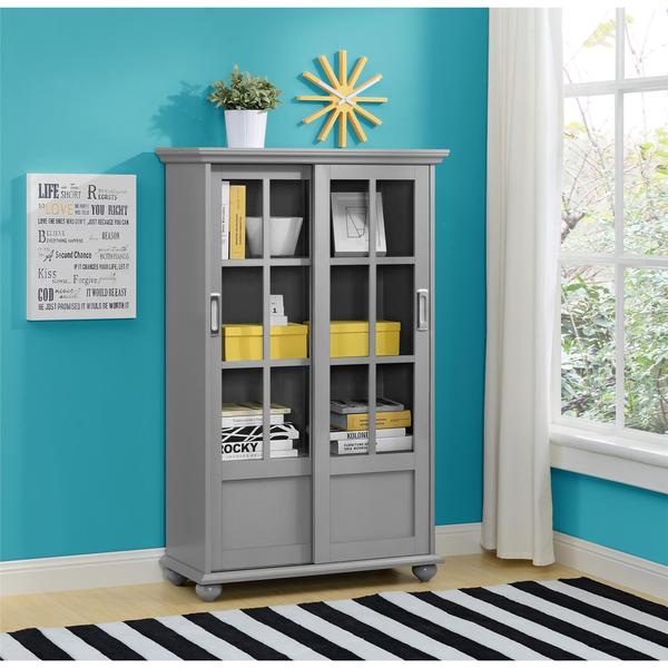 Ameriwood Home Aaron Lane Soft Grey Bookcase With Sliding