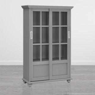 Avenue Green Abbeywood Soft Grey Bookcase with Sliding Glass Doors