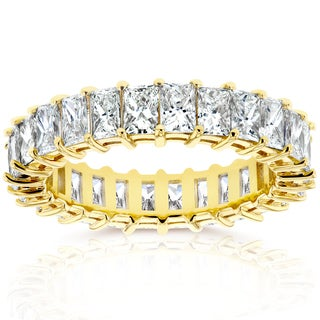 Annello by Kobelli 14k Yellow Gold 4 1/8ct TDW Princess Baguette Diamond Eternity Ring (I
