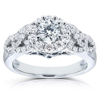 Annello by Kobelli 14k White Gold 1ct TDW Braided Halo Diamond Engagement Ring (H-I, I1-I