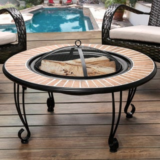 Furniture of America Brandell Round Ceramic Border Fire Pit