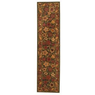 Herat Oriental Indo Hand-tufted Tibetan Green/ Light Blue Wool Rug (2'7 x 10'6)