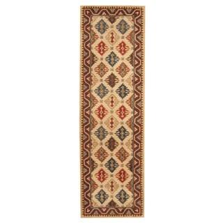 Herat Oriental Indo Hand-tufted Tibetan Ivory/ Beige Wool Rug (3' x 10')