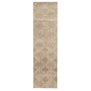 Herat Oriental Indo Hand-tufted Tibetan Gray/ Ivory Wool Rug (2'7 x 9'2)