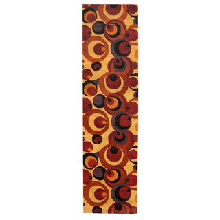 Herat Oriental Indo Hand-tufted Tibetan Gold/ Rust Wool Rug (2'6 x 9'10)