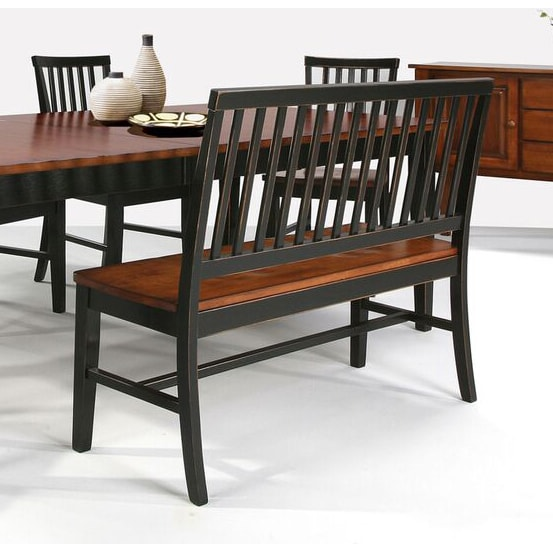 Dining Bench With Back: Arlington Slat Back And Wood Seat Dining Bench