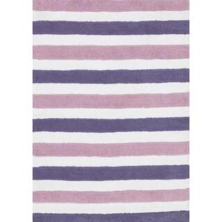 Hand-tufted Riley Plum/ Lilac Striped Shag Rug (7'3 x 9'3)