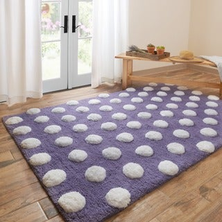 Hand-tufted Riley Plum/ White Polka Dots Shag Rug (3'0 x 5'0)