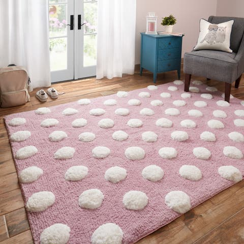 Hand-tufted Riley Lilac/ White Polka Dots Shag Rug (5'0 x 7'0) - 5' x 7'