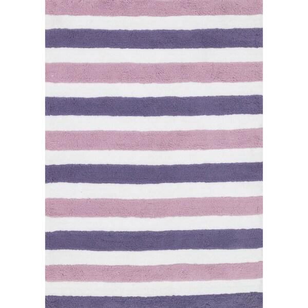 Hand-tufted Riley Plum/ Lilac Striped Shag Rug (5'0 x 7'0)