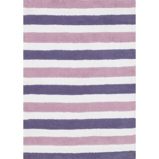 Hand-tufted Riley Plum/ Lilac Striped Shag Rug (5'0 x 7'0)