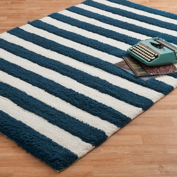 Hand Tufted Riley Navy White Striped Rug 7 X27 3