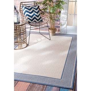 nuLOOM Two-Tone Border Indoor/ Outdoor Blue Rug (6'3 x 9'2)