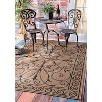 Gracewood Hollow Charles Wrought Iron Flourish Indoor/ Outdoor Brown Rug