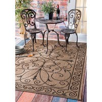 "Gracewood Hollow Charles Wrought Iron Flourish Indoor/ Outdoor Brown Rug - 8'6"" x 13'"