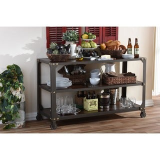 Baxton Studio Dreydon Rustic Industrial Antique Bronze Finishing Walnut Wood Occasional Console Table