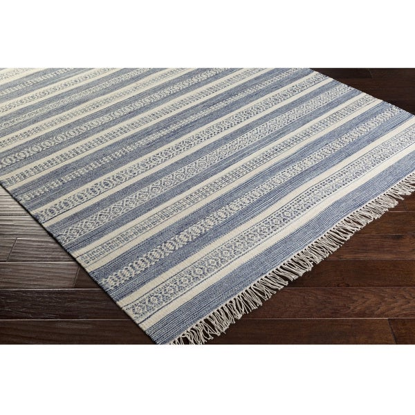 Carbon Loft Salmon Stripe Wool/ Cotton Area Rug
