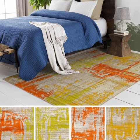 Porch & Den Lions Orange/ Yellow Faded Area Rug