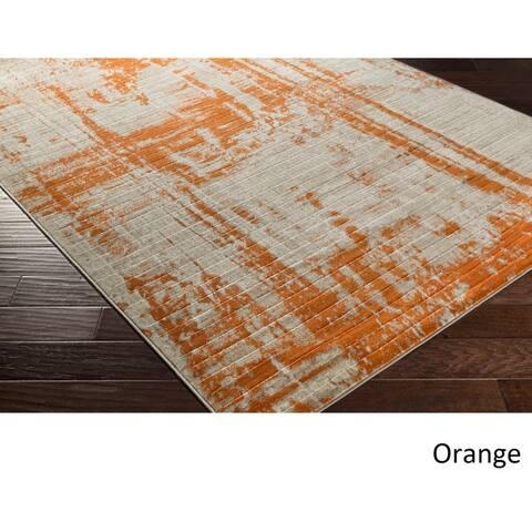 Porch & Den Lions Orange/ Yellow Faded Area Rug