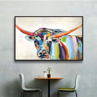 Melissa Lyons's Long Horn, Gallery Wrapped Floater-framed Canvas
