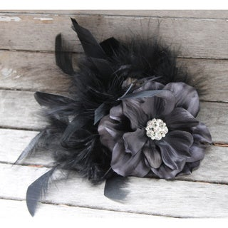 CarolineAlexander Handmade Black Feather Flower Fascinator
