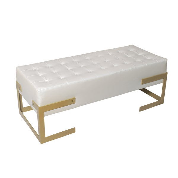 off white tufted faux leather bench free shipping today