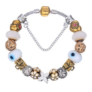Pink Box Double Rhodium-plated Gold and Silver Bead European Charm Bracelet