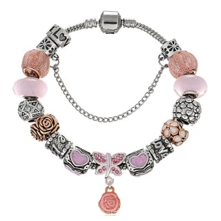 Pink Box Double Rhodium-plated Pink Bead European Charm Bracelet
