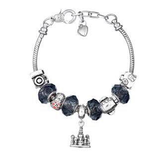 Pink Box Double Rhodium-plated Black Bead European Charm Bracelet